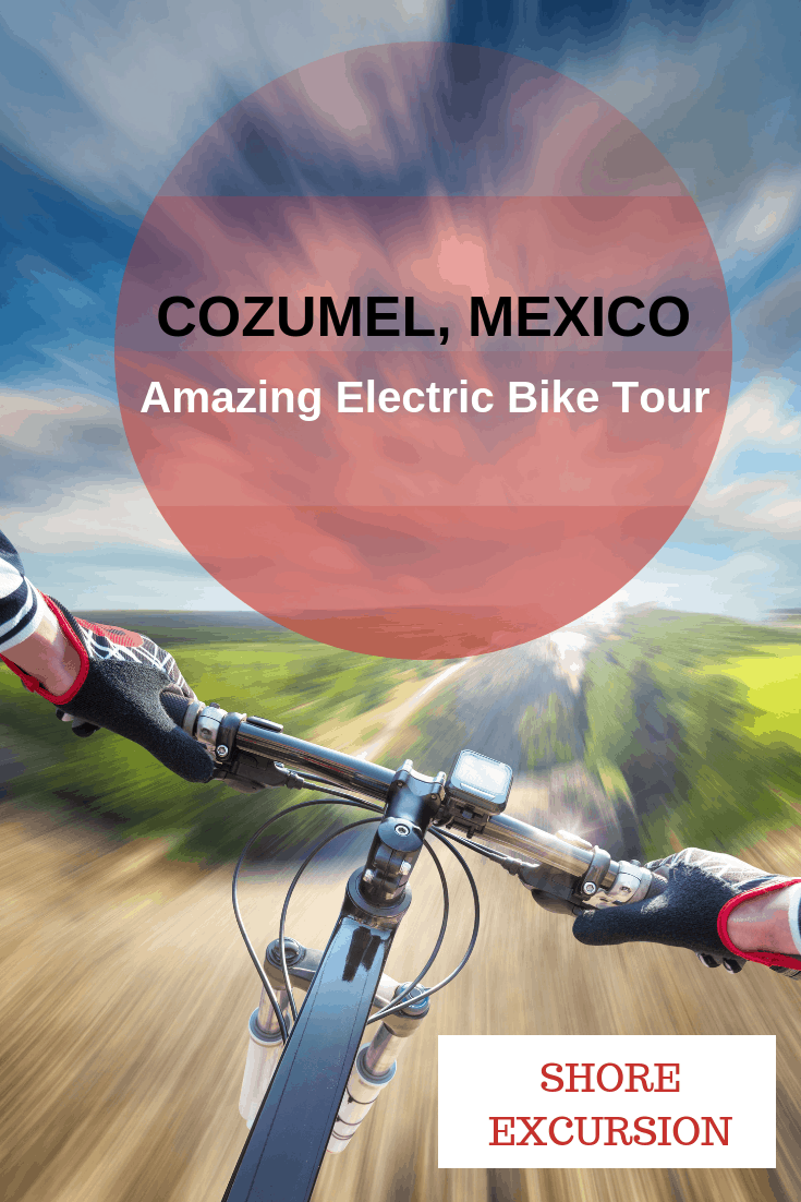 The Cozumel electric bike tour is an amazing tour exploring the pristine and untouched beaches of Punta Sur Eco Beach near the Port of Cozumel. You bike on deserted roads. swim and snorkel in the Caribbean Sea, and spot wildlife, like crocodiles, iguanas and turtles. #travel #familytravel #Mexico |cruise, e-bike, Liberty of the Seas, Pedego, Royal Caribbean