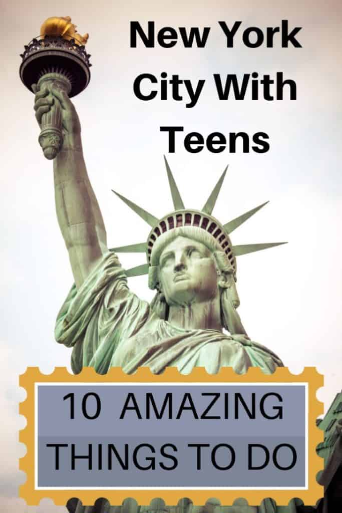 You only have a few days in New York City and want to show your teens the best time. Here are 10 New York City attractions that I guarantee you your teens will love. Mine did! #travel #familytravel #travelwithkids #travelwithteens #NewYork |America, bike tour, Black Tap, Broadway, bus tour, Central Park, Century 21 Department, Ellis Island, Empire State Building, Foot Locker, Knickerbocker, milkshakes, Playbill, shopping, Statue of Liberty, subway, The Ride, Time Square, TKTS, USA