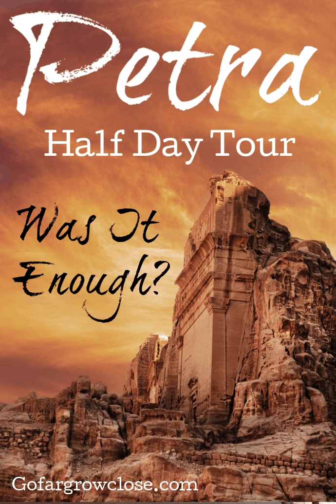 We spent a half day exploring Petra, Jordan, one of the New Seven Wonders of the World. It is an enormous site with countless tombs, temples, and other Roman ruins to explore. Was this enough time? What should you know to make the most of your Petra half day tour. #travel #familytravel #Jordan #Petra| Amphitheatre, Colonnaded Street, half day tour, Museum, Nabataen, New 7 Wonders of the World, Obelisk, Old Village Resort, Petra, Petra by night, Pink City, Royal Tombs, Siq, Street of Facades, Treasury, Wadi Musa, Wadi Rum|