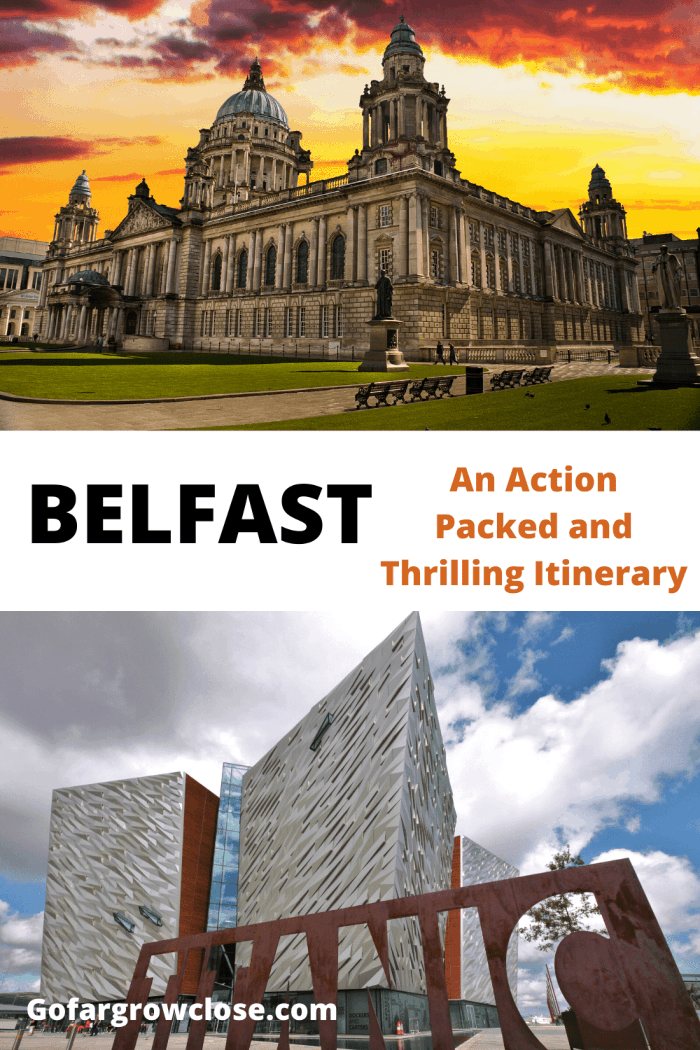 We spent two nights in Belfast and fell in love with this exciting city. Here is our Belfast itinerary including where we stayed and ate, and the Belfast attractions that we loved. #travel #Northernireland #familytravel, things to do in Belfast, Titanic Museum Belfast, Black cab taxi tour of the Troubles, Belfast restaurants, Belfast hotels, Belfast areas to stay, Belfast photographs, Belfast pictures, Belfast shopping, Belfast downtown, explore Belfast, European destinations, Belfast guide