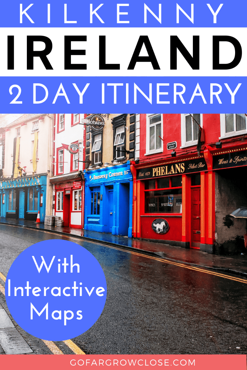 Our two day Kilkenny itinerary that will entertain everyone. #travel #Ireland #Kilkenny #Europe #familytravel, Ireland travel, Ireland photography, Kilkenny things to do, food, restaurants, medieval castle, Ireland road trip, bucket list activities and attractions, Dunmore Cave, Rock of Cashel, Kilkenny Castle, Shenanigans walking tour, Medieval mile, Ireland travel tips, Destinations in Europe, European travel, Europe travel destinations, Europe travel guide, interactive maps, teens, kids