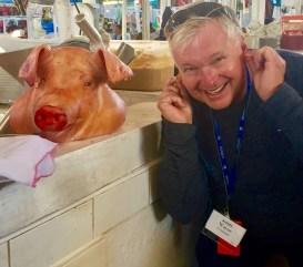 Wayne has fun at Cuzco's local market.