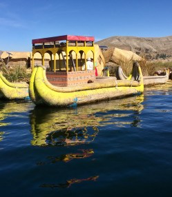 The Boat of the Uros People made of Tortola Reeds
