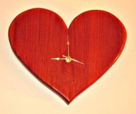 engraved wood heart clock