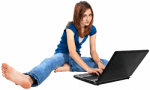 girl with laptop using Facebook -- image source PictureYouth
