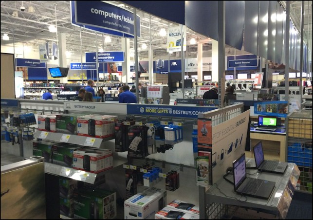 shopping at the local Best Buy