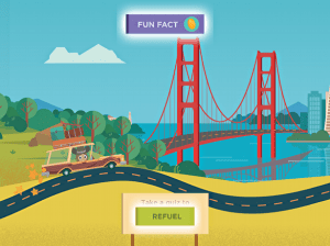 heading to the golden gate bridge in the sylvan learning ipad tablet game critter cruise