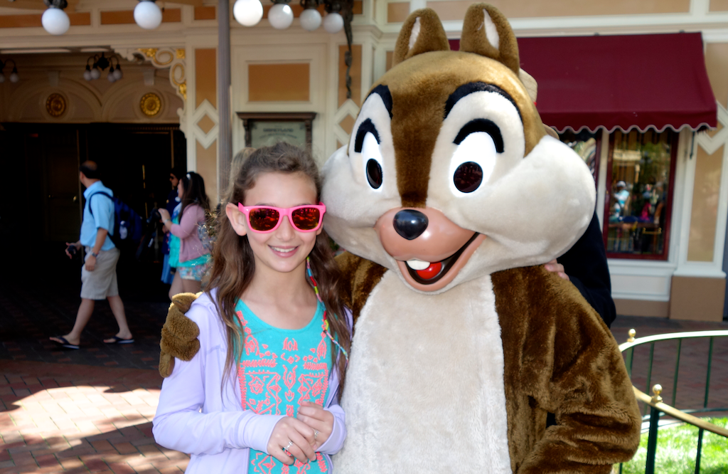 chip n' dale: my daughter posing with chip