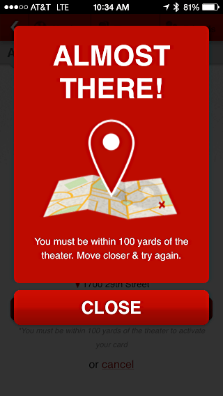 moviepass - almost there for checkin