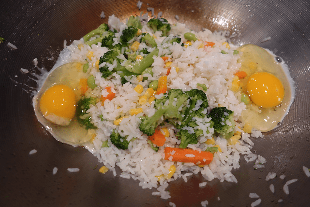 rice, veggies, eggs, just about done cooking chinese fried rice