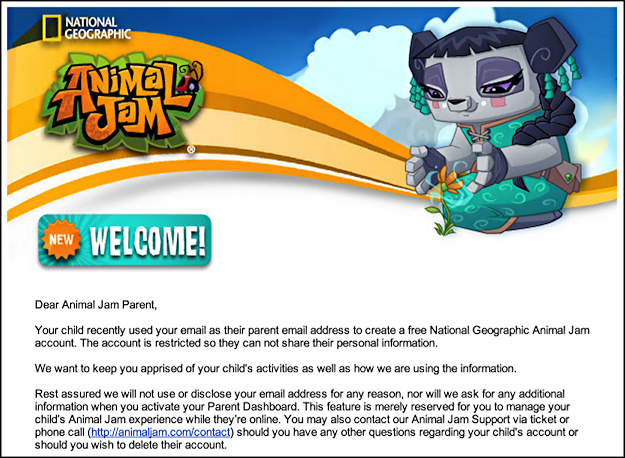 parent email animal jam