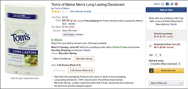 buy tom's of maine deodorant from amazon.com