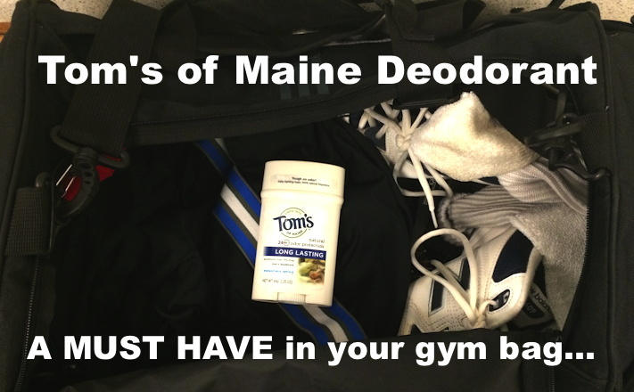 tom's of maine deodorant in a black gym bag