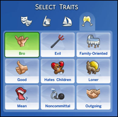 The Sims 4 Select a Trait