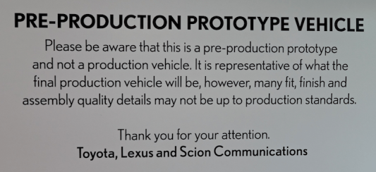 warning: this is a pre-production prototype vehicle and the design, fit and finish are subject to change
