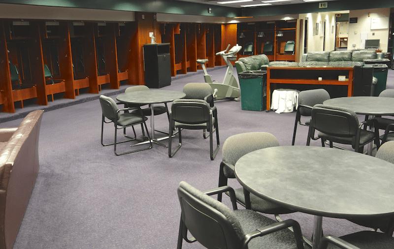 visiting team's locker room