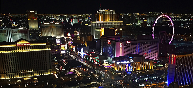 las vegas at night panorama from the top of the cosmopolitan