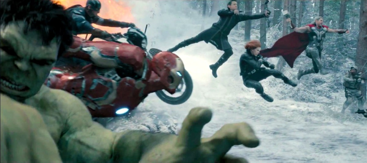 "Avengers attack in slow-motion, from ""Avengers: Age of Ultron"""