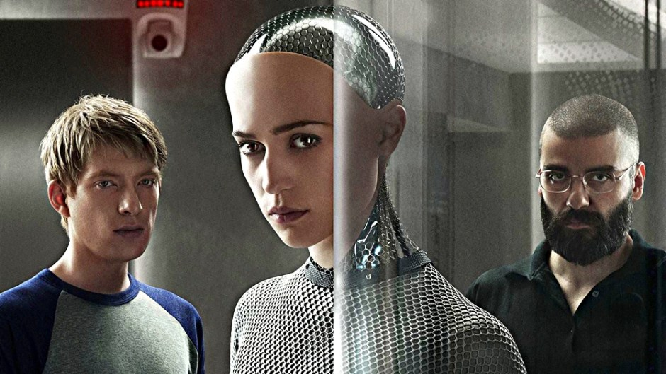 "Caleb (Gleeson), Ava (Vikander) and Nathan (Isaac), from ""Ex Machina"""