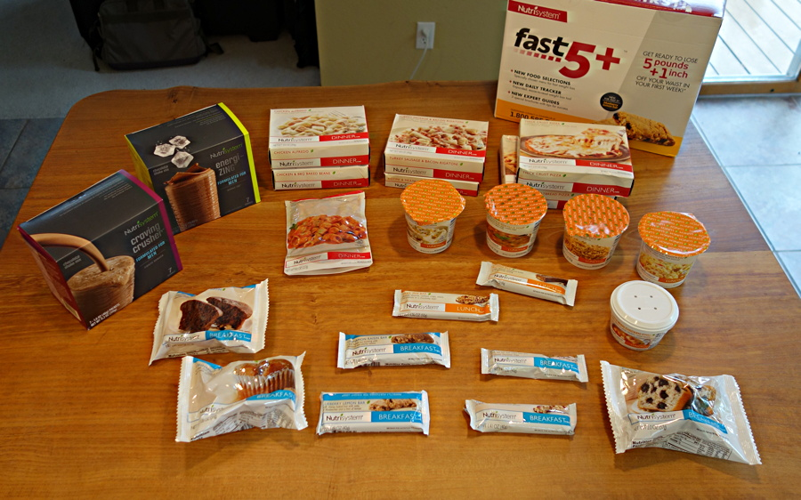 a week's worth of meals in a nutrisystem fast 5 program box