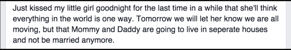 man announcing divorce to child facebook status update