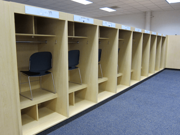 visitor locker room, sports authority field at mile high, denver co
