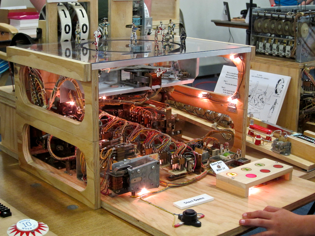 inside of a classic pinball machine, noco makers faire