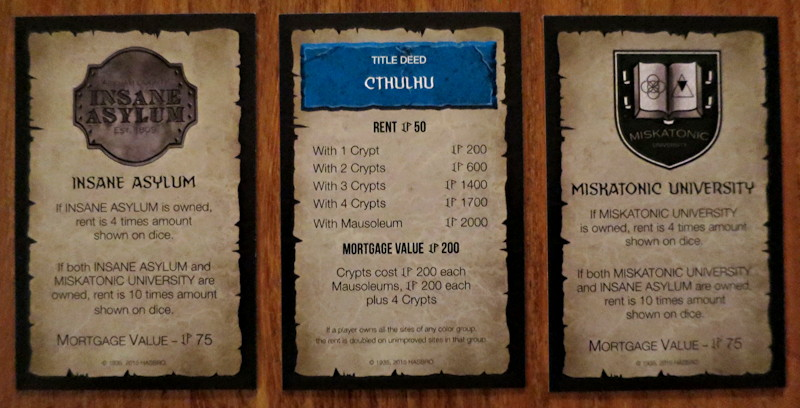 usaopoly - cthulhu monopoly - example property cards cthulhu insane asylum