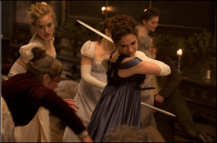 Bella Heathcote and Lily James in Pride and Prejudice and Zombies