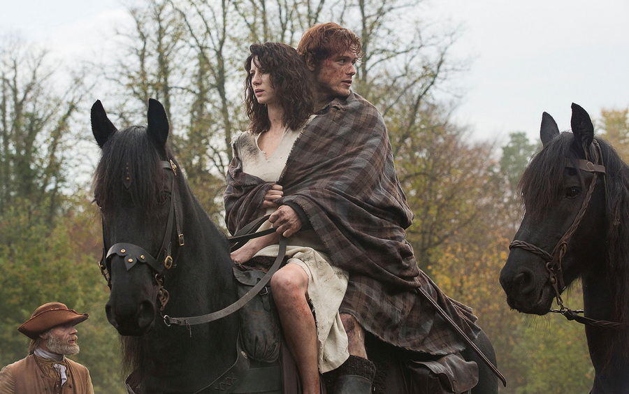 "Claire (Caitriona Balfe) and Jamie (Sam Heughan) from ""Outlander"""