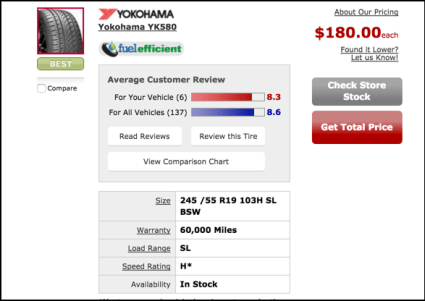 yokohama replacement tire wheel suv toyota discount tires