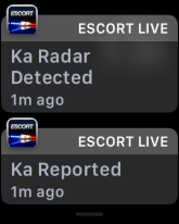 escort live ka radar detected, display on apple watch