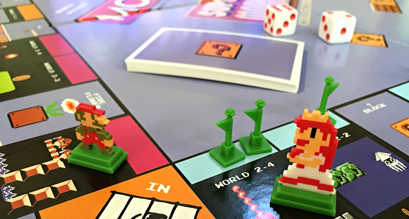 close up super mario bros monopoly tokens board game