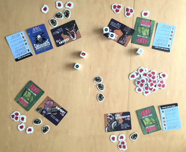overview table bang the dice game walking dead edition
