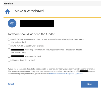 529 account withdrawal payment request form online
