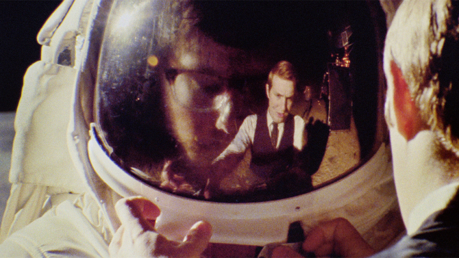 "Owen's reflect in Matt's spacesuit helmet, in ""Operation Avalanche"""