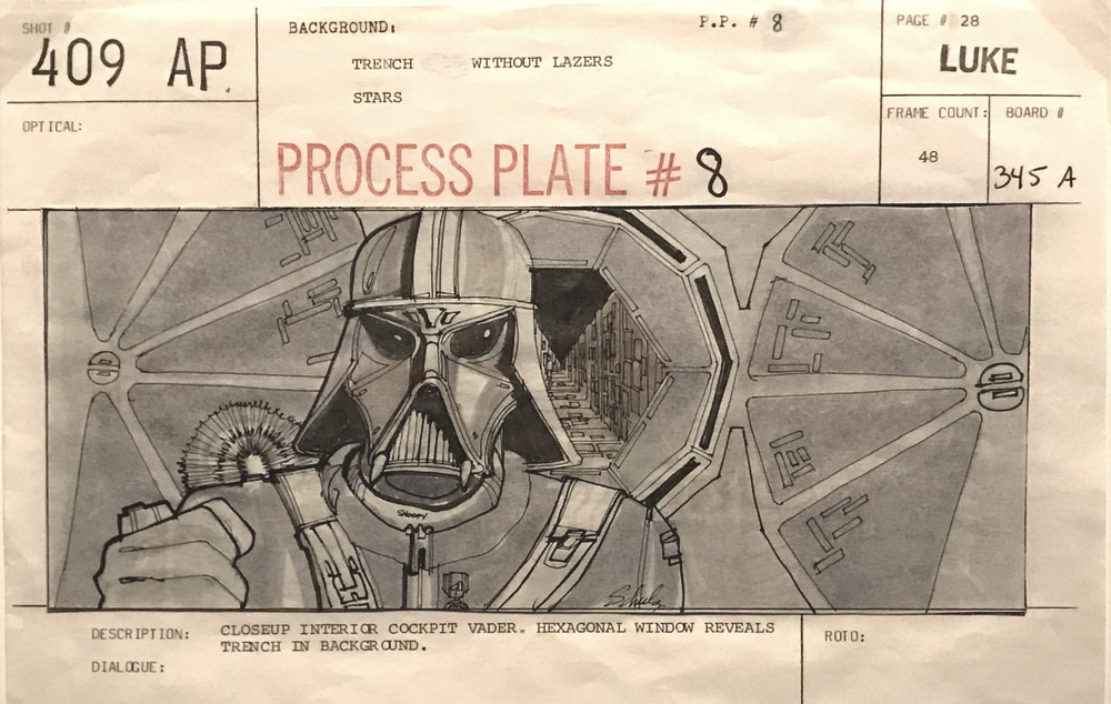 storyboard sketch, darth vader