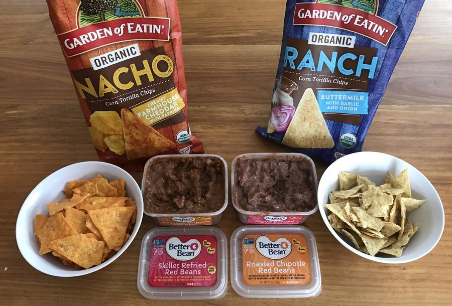 garden of eating tortilla chips + better bean red bean dips
