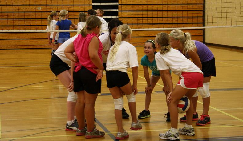 girls playing volleyball, ymca