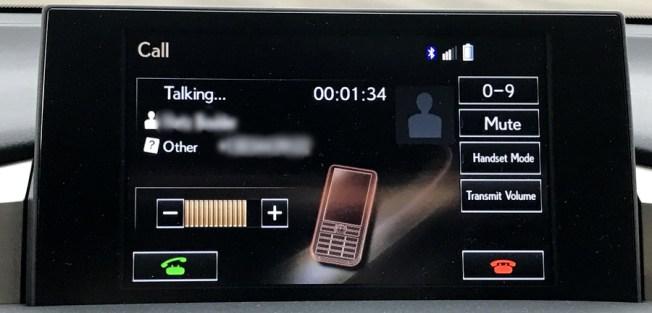 lexus nav system phone call in progress