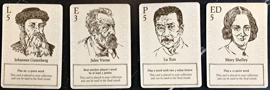 writer bonus cards, movable type game