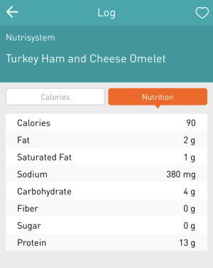nutrisystem turkey ham and cheese omelet, nutrition info