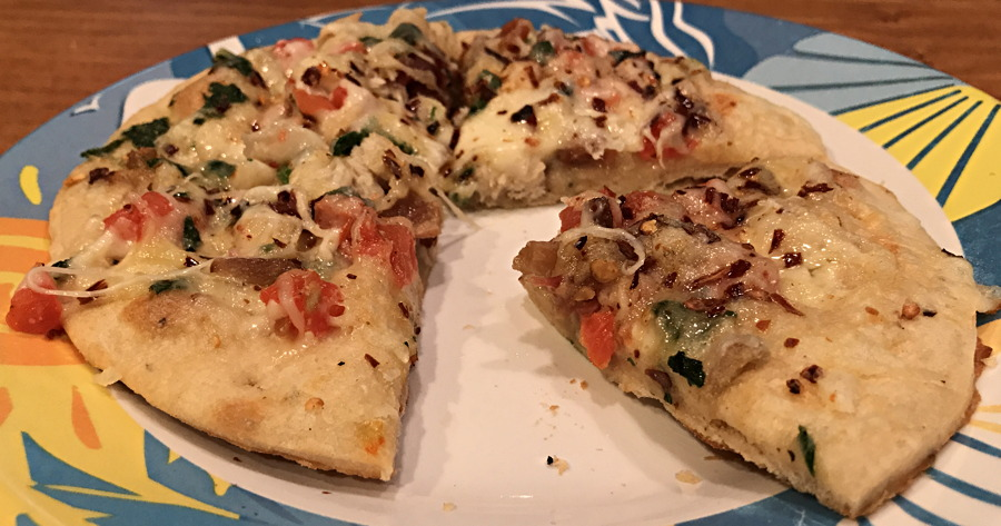 nutrisystem pizza, cooked, with extra cheese and spices