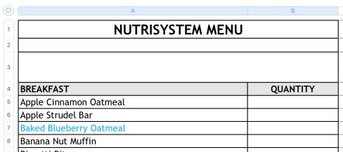 nutrisystem menu spreadsheet numbers