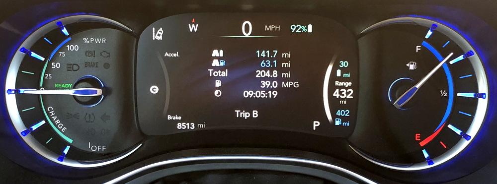 2018 chrysler pacifica hybrid dash gauges