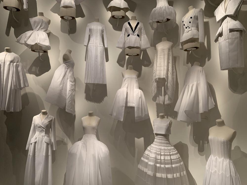 white fabric 'test' dresses, dior, denver art museum