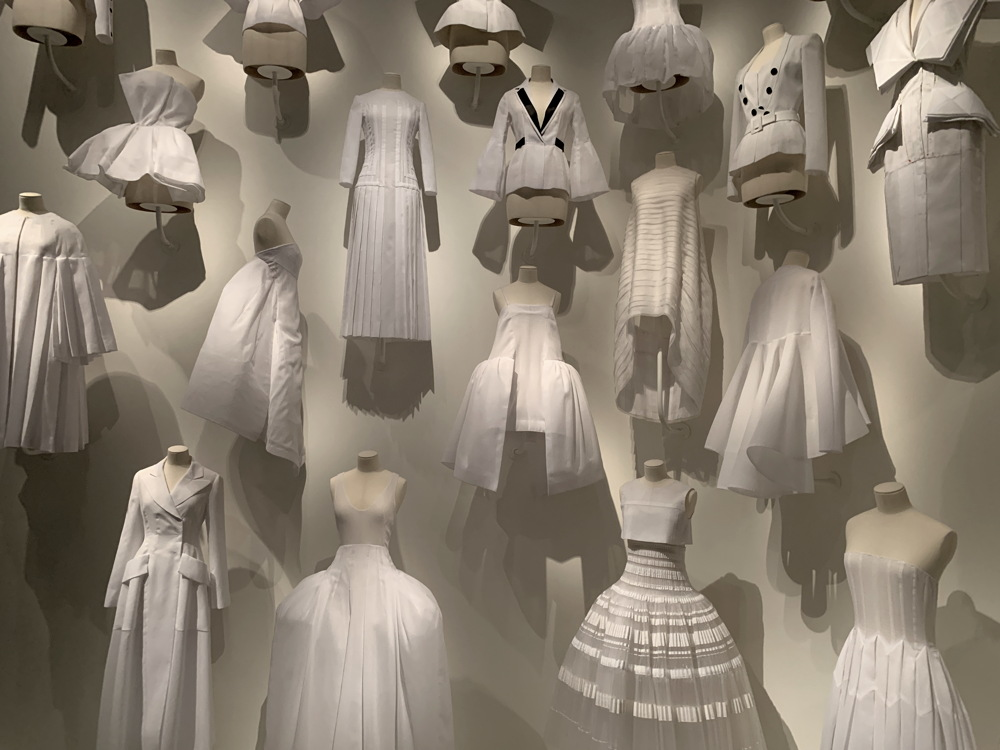 white fabric 'test' dresses, dior, denver art museum