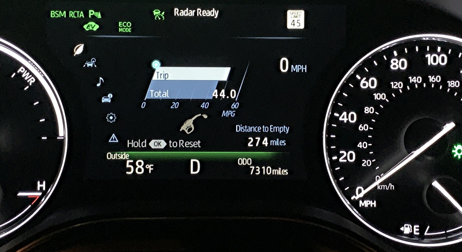 2019 toyota avalon hybrid -fuel efficiency gauge graph