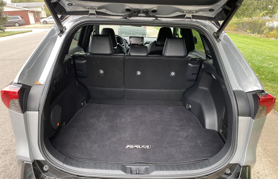 2019 toyota rav4 hybrid xse interior hatch back open space room storage