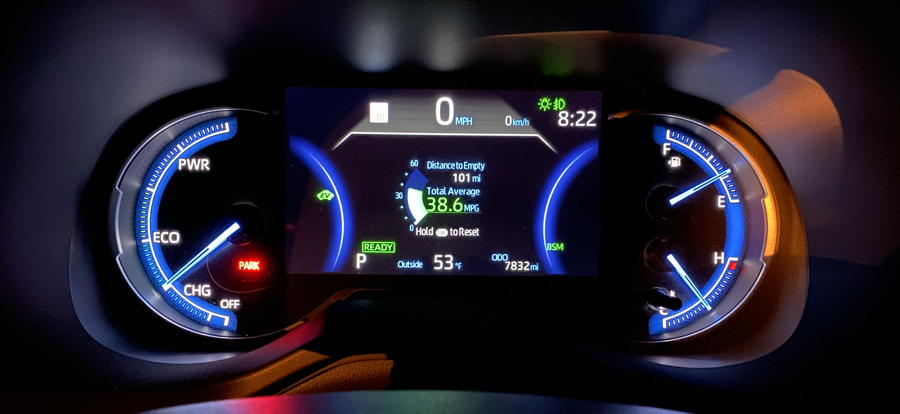 2019 toyota rav4 hybrid - main gauge display - night